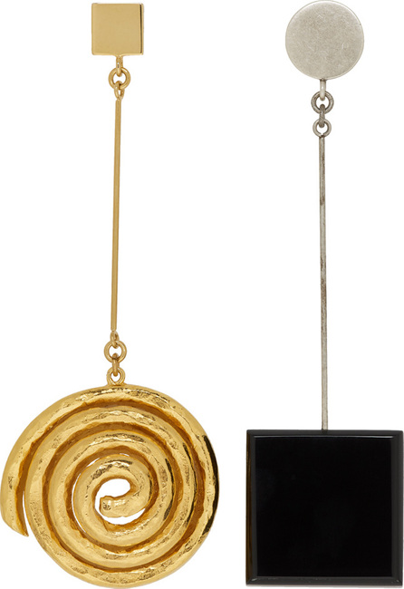 Jacquemus Gold & Black 'Le Carré' Earrings