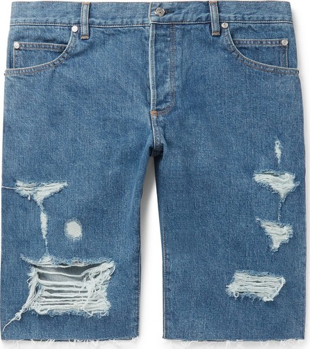 Balmain Slim-Fit Logo-Embroidered Distressed Denim Shorts