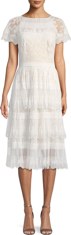 Tadashi Shoji Pleated Lace Tiered Dress