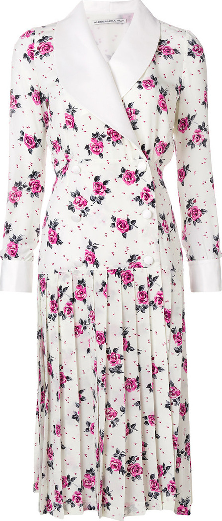 Alessandra Rich Floral double-breasted pleated dress