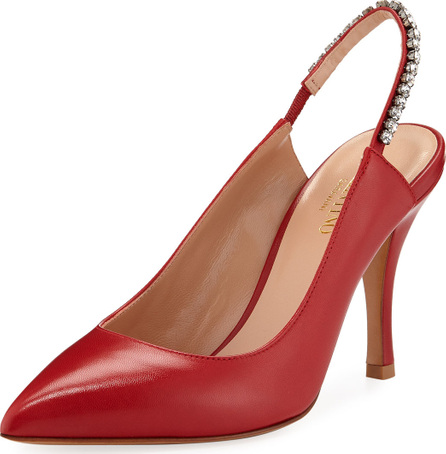 Valentino Shiny Jeweled Slingback Pumps