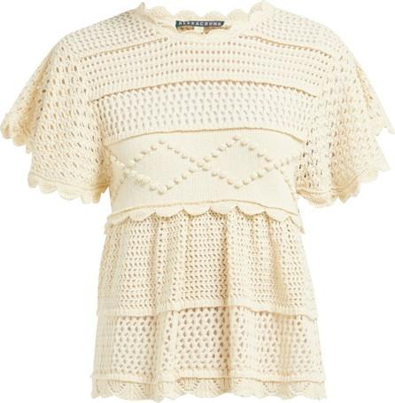 Alexachung Open-back crocheted cotton-blend top