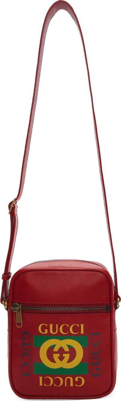 Gucci Red Vintage Logo Messenger Bag