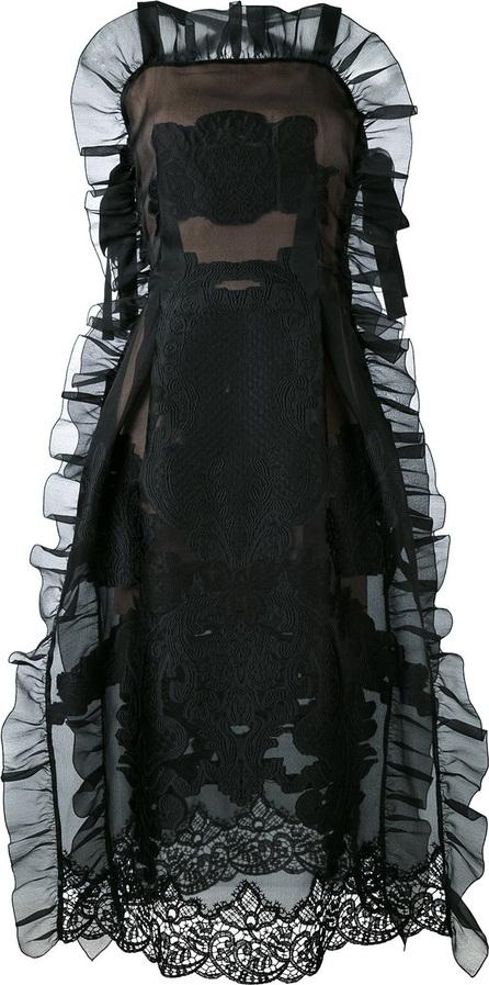 Alberta Ferretti criss cross ruffle dress