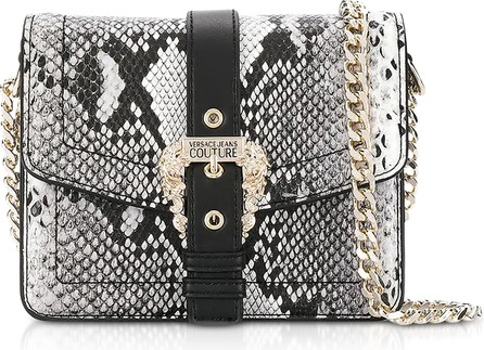 Versace Jeans Couture Roccia Python Embossed Leather Shoulder Bag w/ Buckle