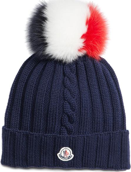 Moncler Genuine Fox Fur Pom Wool Hat