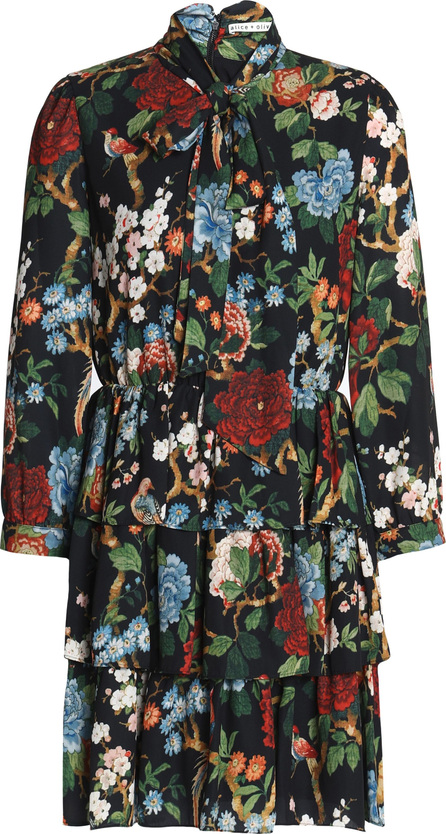 Alice + Olivia Breann pussy-bow tiered floral-print crepe mini dress