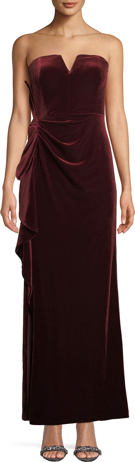 Aidan Mattox Strapless Ruched Velvet Formal Gown Dress