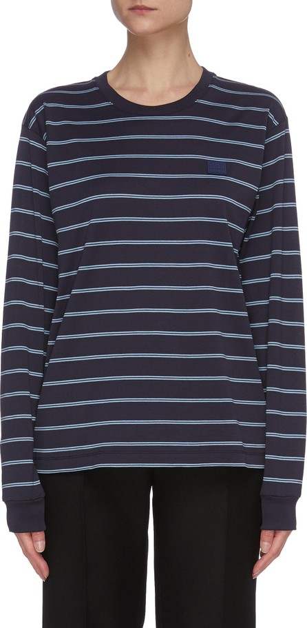 Acne Studios Stripe print face patch long sleeve T-shirt