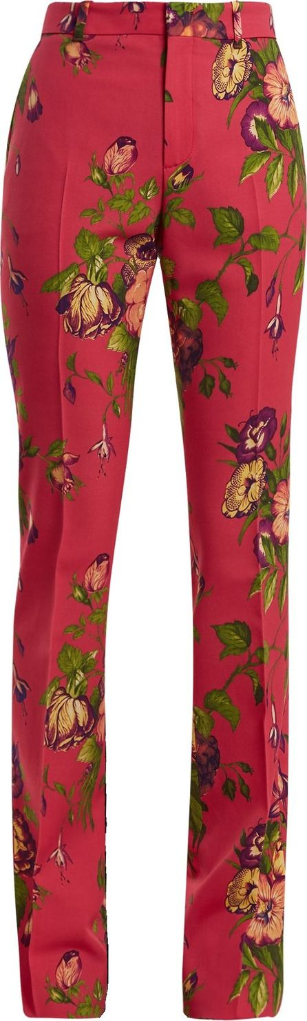 Gucci Floral-print wool-blend trousers