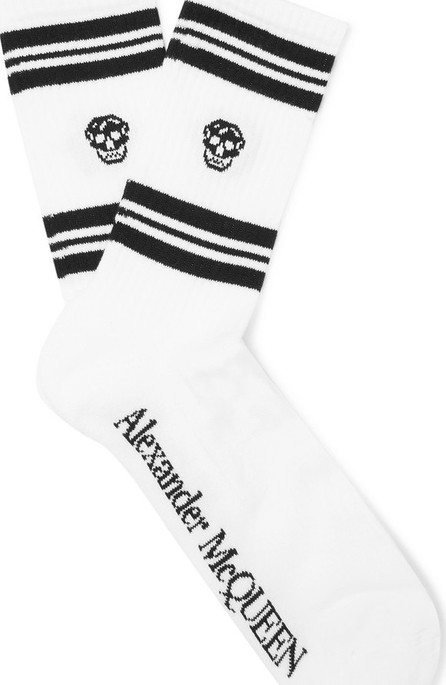Alexander McQueen Intarsia Stretch Cotton-Blend Socks