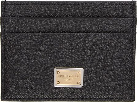 Dolce & Gabbana Black & Gold Logo Card Holder