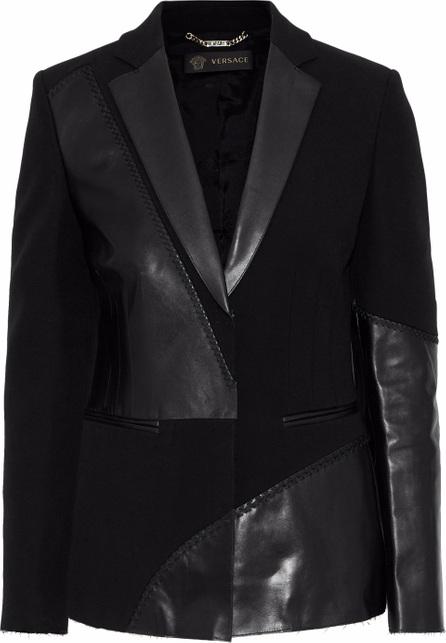 Versace Whipstitched leather-paneled crepe jacket