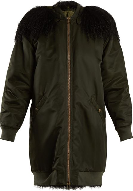 Mr&Mrs Italy Mongolian fur-lined hooded long-line bomber jacket