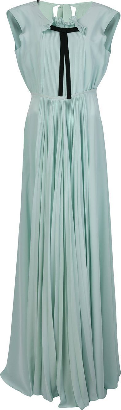 ROCHAS Pleated front gown with pussy bow