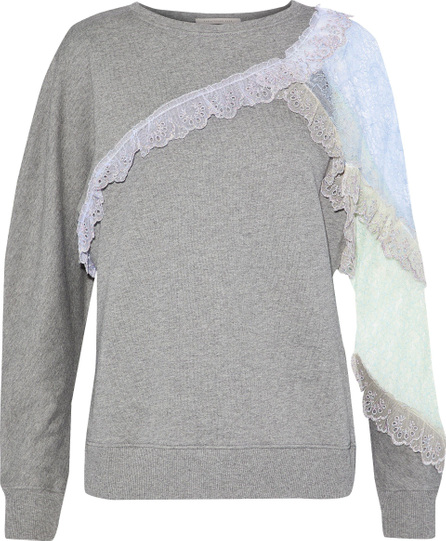 Christopher Kane Corded lace-paneled mélange cotton-terry top