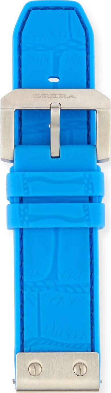 Brera Orologi 24mm Embossed Rubber Watch Strap, Blue