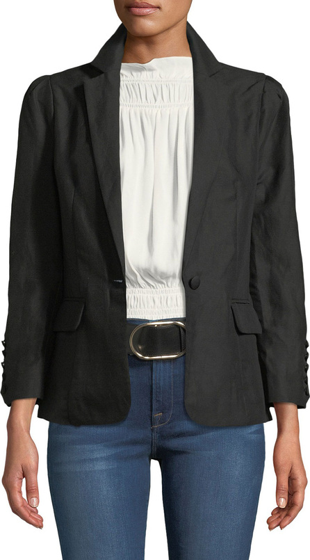 FRAME DENIM One-Button Pleated Linen Blazer