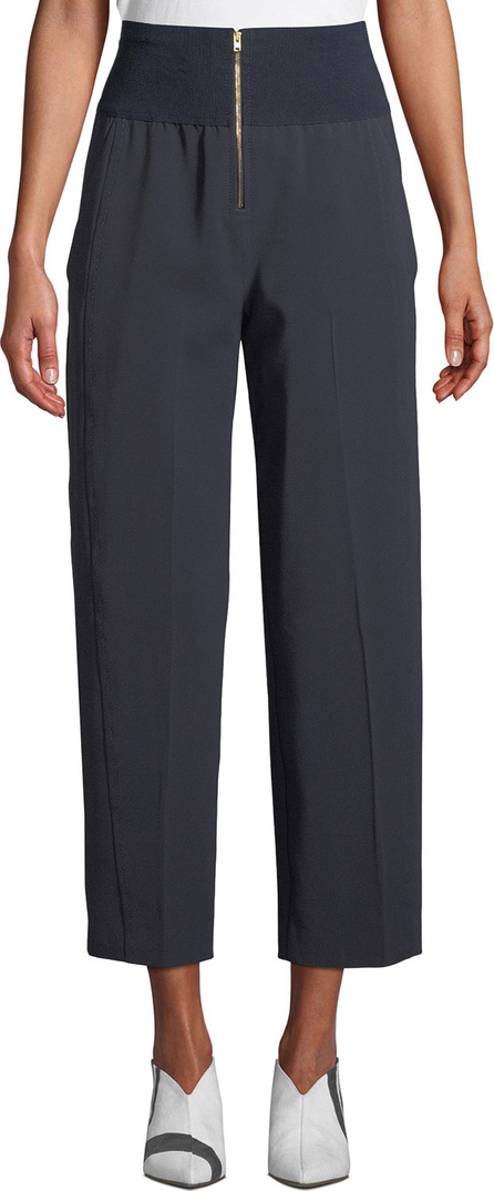 Carven Ribbed High-Waist Cropped Trousers