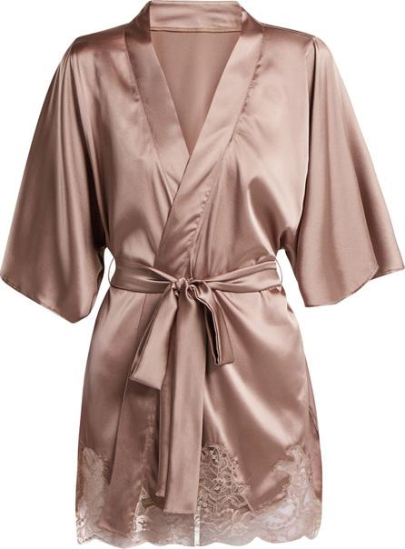 Fleur of England Lace-trimmed silk-blend kimono