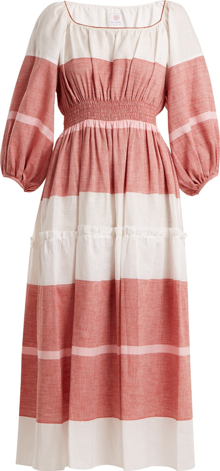 Gül Hürgel Puff-sleeved striped linen-blend dress