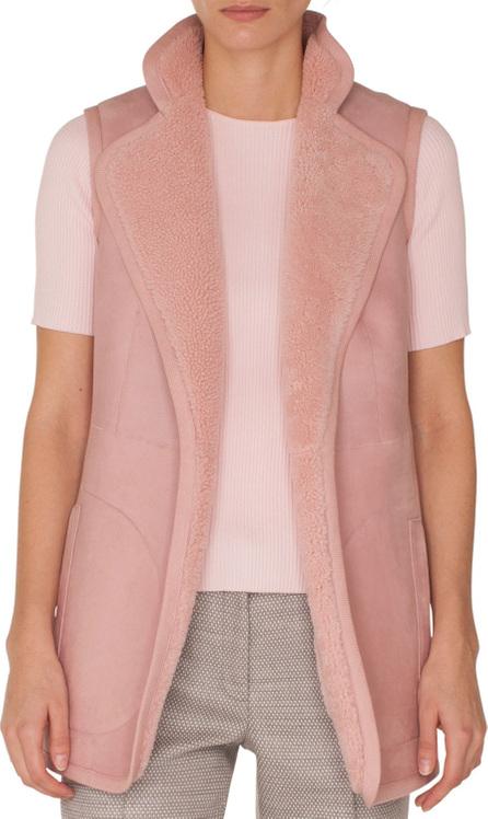 Akris Punto Stand-Collar No-Closure Reversible Suede Shearling Fur Vest