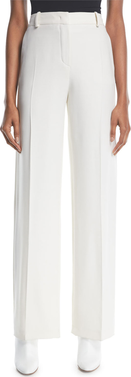 Loro Piana Adam High-Waist Wide-Leg Wool-Silk Pants
