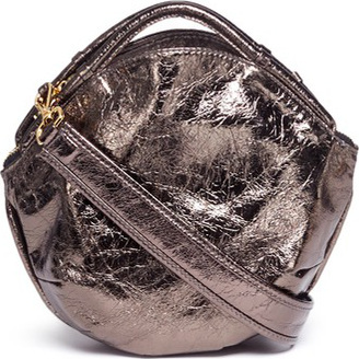 A-Esque 'Petal Miniature' split handle metallic leather bag