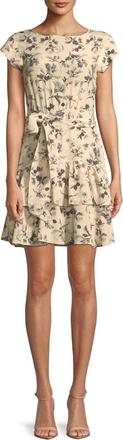 Rebecca Taylor Sofia Floral Silk Short-Sleeve Dress
