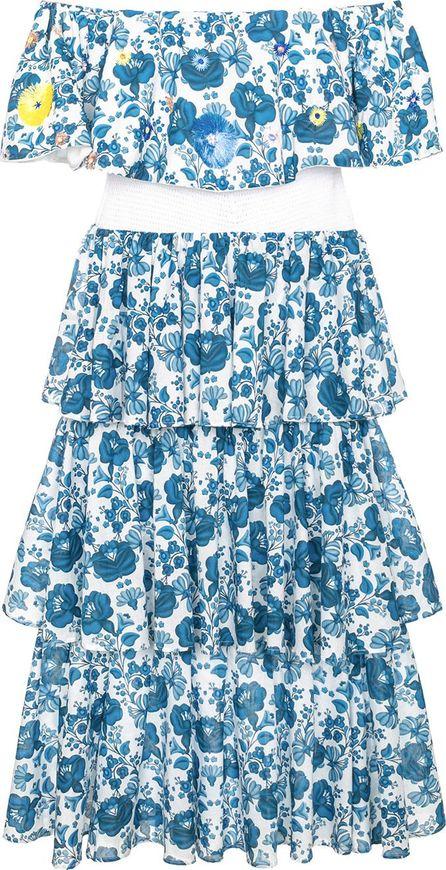 All Things Mochi natalia floral print tiered midi dress
