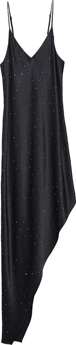 Amiri Asymmetrical Crystal Silk Dress