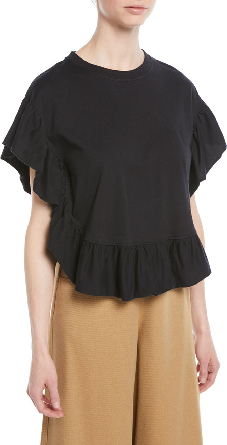 See By Chloé Ruffled Short-Sleeve Cotton Top