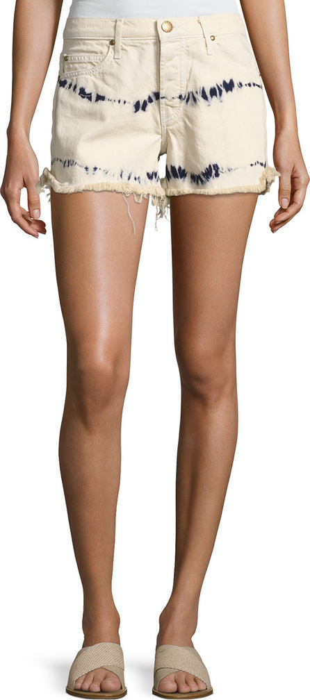 THE GREAT. The Cut Off Slouchy Tie-Dye Denim Shorts, White