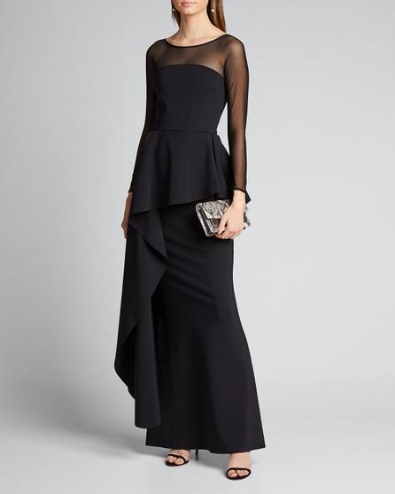 La Petite Robe di Chiara Boni High-Neck Long-Sleeve Illusion Gown w/ Elongated Peplum