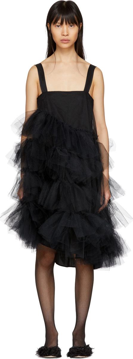 Simone Rocha Black Tulle Multiple Ruffles Dress