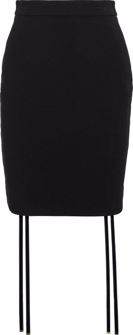 Antonio Berardi Velvet-trimmed appliquéd crepe mini skirt