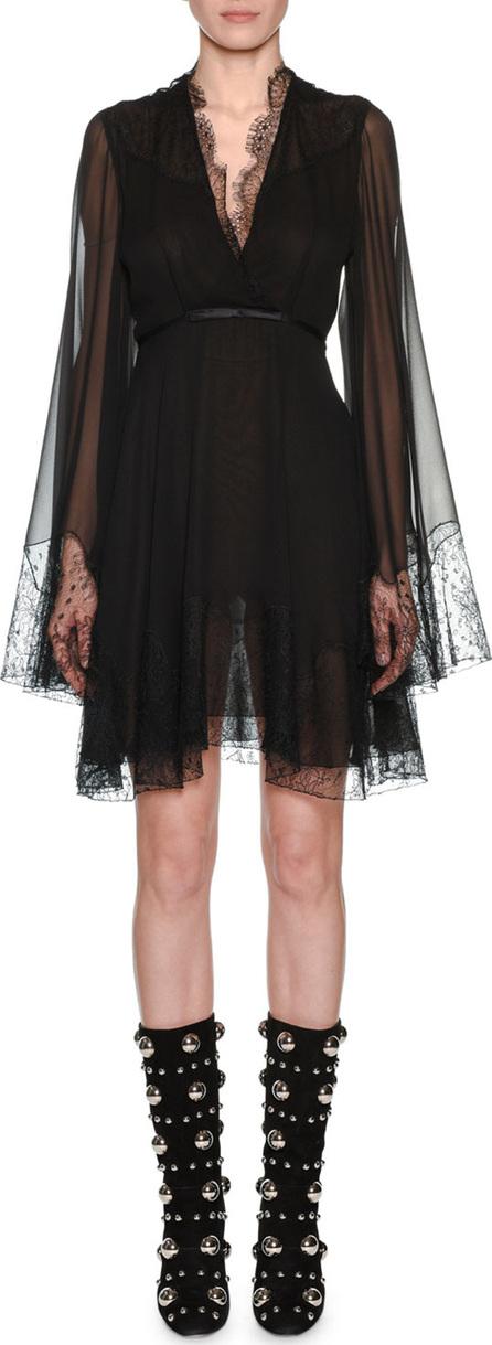 Giambattista Valli V-Neck Bell-Sleeve Empire-Waist Silk Dress w/ Lace