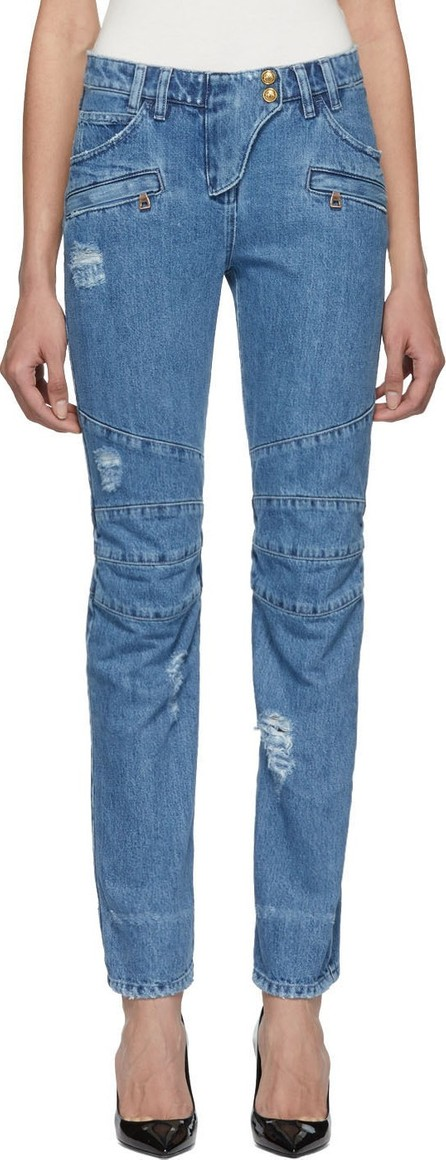 Balmain Blue Straight Fit Biker Jeans