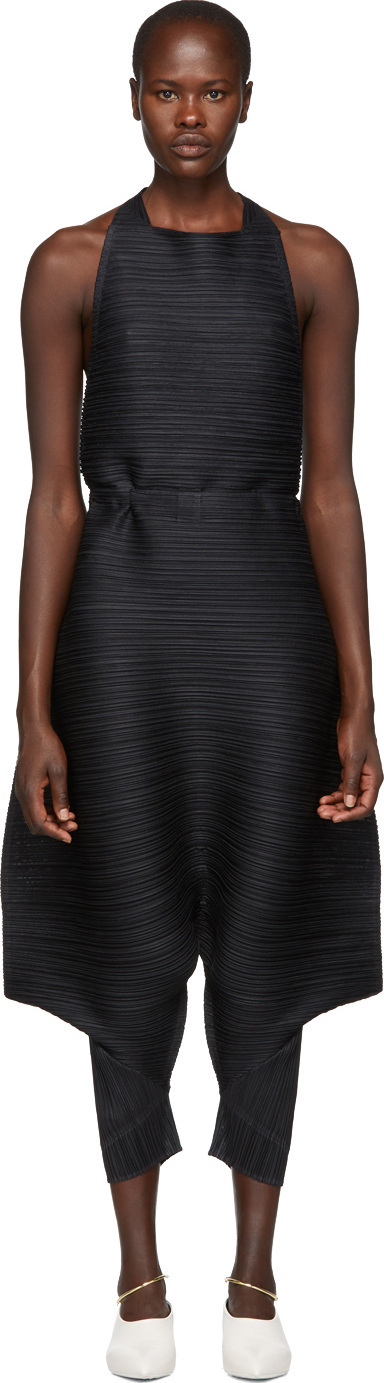 Pleats Please By Issey Miyake Black Thicker Bounce Overalls