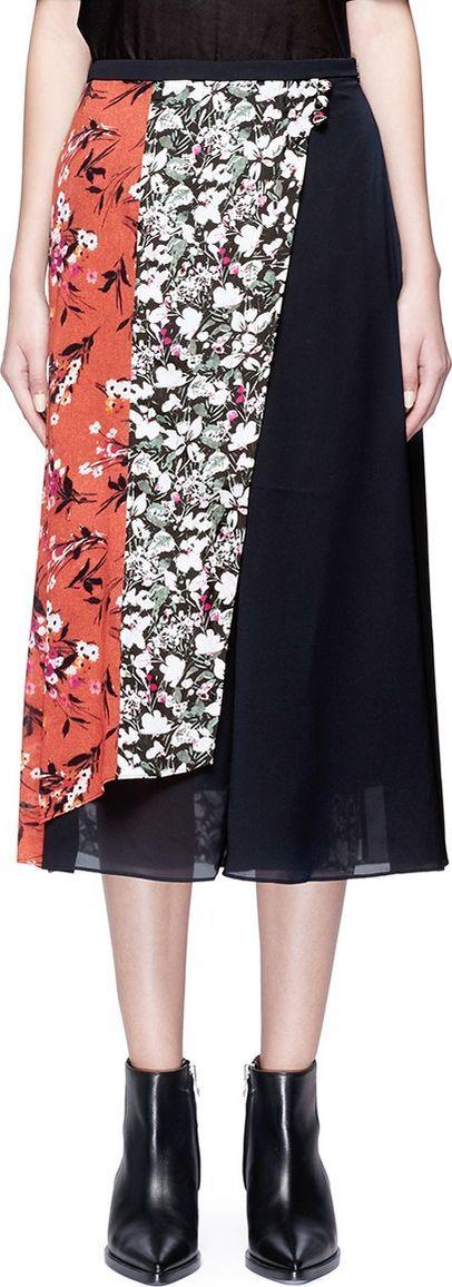Acne Studios 'Hayett' floral print mock wrap crepe culottes