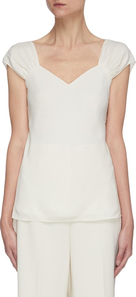 Theory Ruched cap sleeve silk top