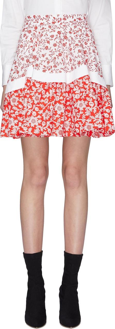 Alexander McQueen Colourblock floral print poplin flared skirt