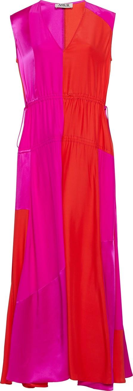 AMUR Lotta Two-Tone Ruched Silk Midi Dress