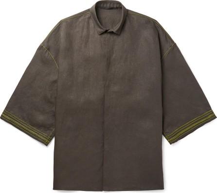 Haider Ackermann Oversized Soutache-Embroidered Linen Shirt