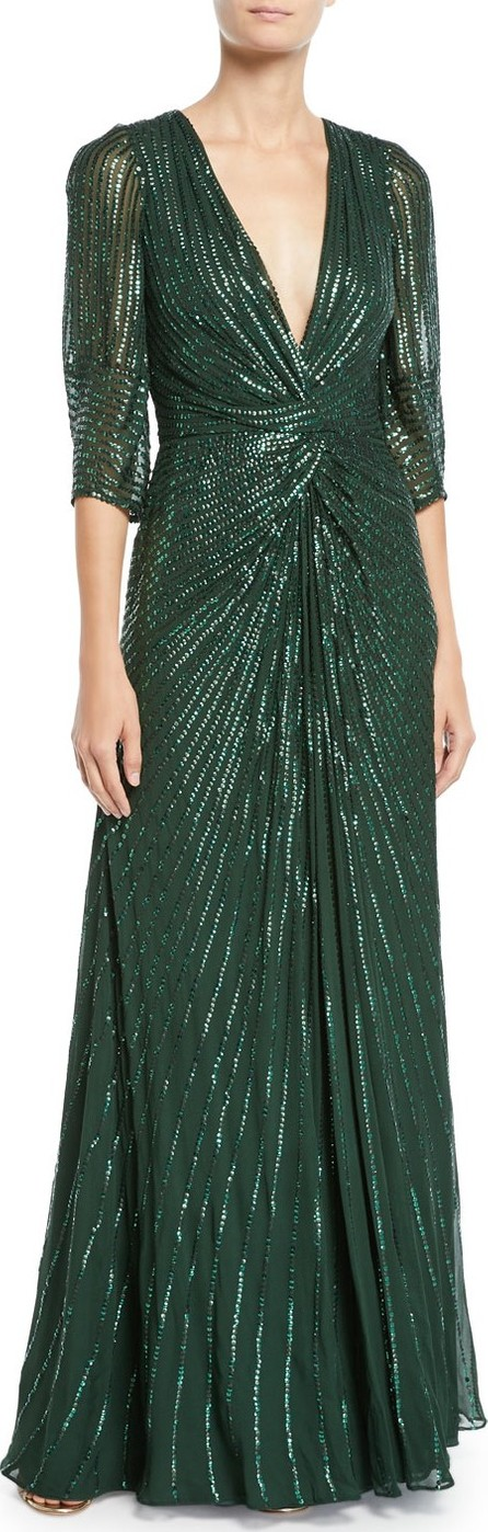 Jenny Packham Tana 3/4-Sleeve Beaded V-Neck Knotted Gown