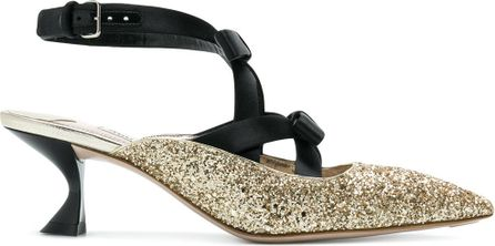 Miu Miu Glittered ankle strap pumps