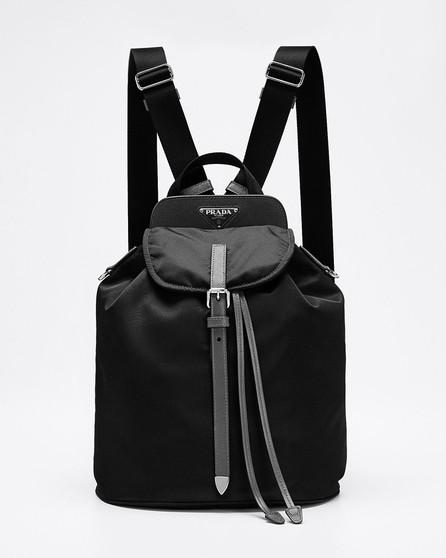 Prada Nylon and Saffiano Leather Flap Backpack