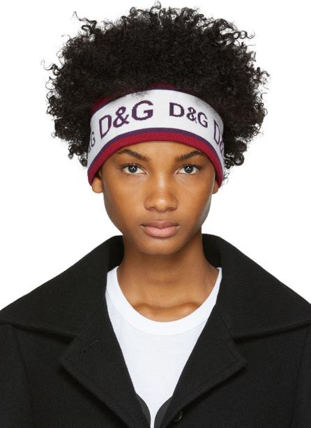 Dolce & Gabbana White & Purple Logo Headband