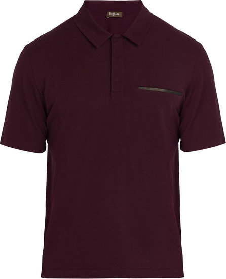 Berluti Leather trimmed cotton blend polo shirt