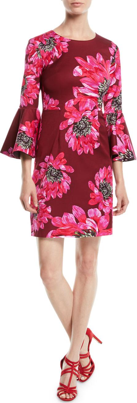 Trina Turk Trumpet-Sleeve Sheath Dress in Macro Floral Print